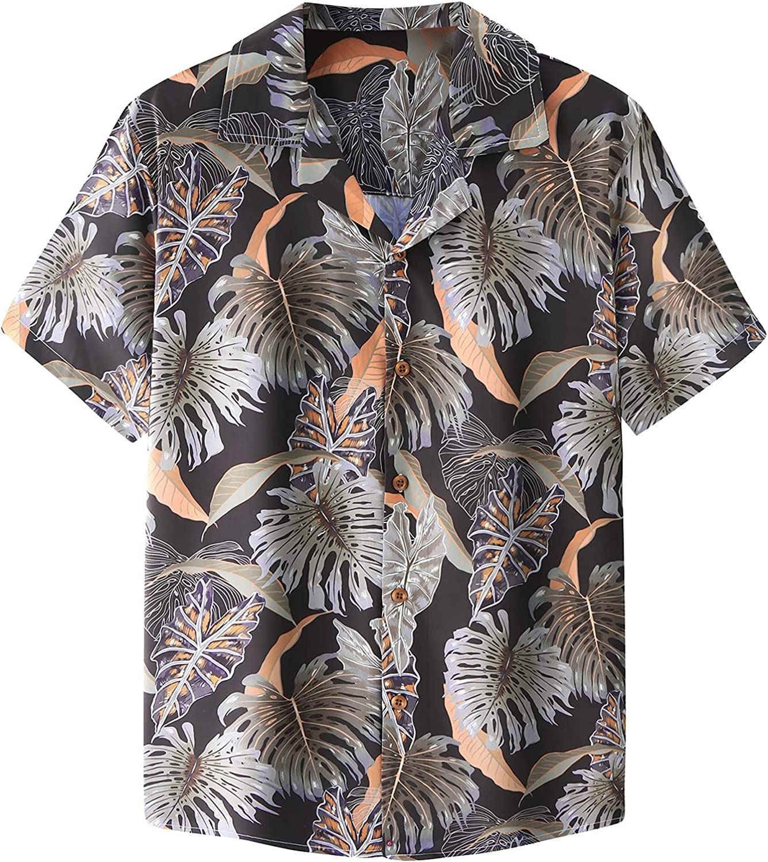 Huangse Hawaiian Shirt for Men Short Sleeve Beach Printed Summer Button Down Aloha Shirt Loose Fit Lapel Tee Shirts