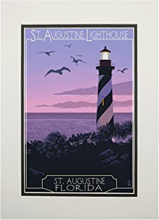 St. Augustine, Florida - Lighthouse (11x14 Double-Matted Art Print, Wall Decor Ready to Frame)