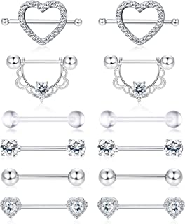 14G Nipplerings Piercing Women Stainless Steel CZ Nipple Rings Jewelry