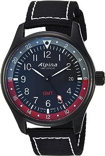 Alpina Men's Startimer Stainless Steel Swiss-Quartz Watch with Nylon Strap, Black, 21 (Model: AL-247BR4FBS6)