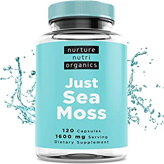 Nurture Nutri Organic JUST SEA Moss (120 Capsules/1600mg Serving) | Sea Moss Organic | Irish Sea Moss Organic Raw | Seamos...