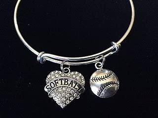 Softball Crystal Heart Charm Silver Expandable Bangle Bracelet Sports Team Coach Gift