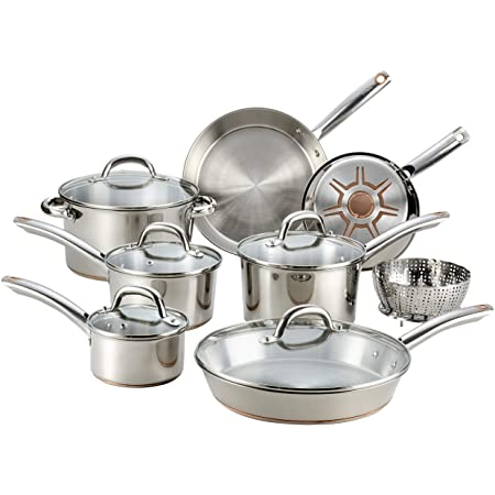 T-fal C836SA set de ollas de cocina en acero inoxidable con base inferior de capas múltiples acero-cobre de gran grosor , 10 piezas, color plata