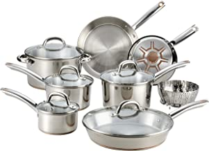 T-fal C836SD Ultimate Stainless Steel Copper Bottom 13 PC Cookware Set, Dishwasher Safe Pots and Pans Set, Silver