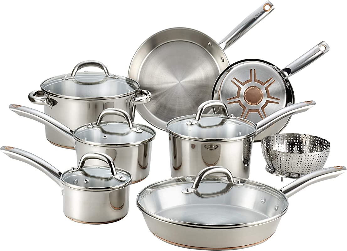 T Fal C836SD Ultimate Stainless Steel Copper Bottom 13 PC Cookware Set Dishwasher Safe Pots And Pans Set Silver