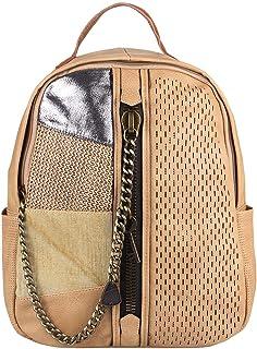 ITALYSHOP24.COM Damen Rucksack Tasche Cityrucksack Stadtrucksack Metallic Backpack Schultertasche Handtasche Umhängetasche Shopper Ketten Daypack Lederrucksack Apricot