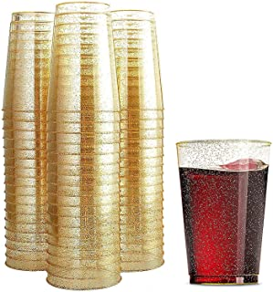 100 كوب بلاستيكي لامع سعة 354.88 مل أكواب بلاستيكية شفافة وأكواب لامعة ذهبية للاستعمال مرة واحدة لحفلات الزفاف وأكواب أنيق...