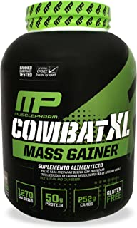 MusclePharm Combat XL Mass-Gainer Powder, Weight Gainer Protein Powder, 1270 Calories per Serving, 50 Grams of Protein, MCTS Flax and Chia Seeds, Chocolate, 6-Pounds