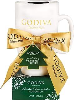 Thoughtfully Gifts, Godiva Mug Gift Set, Includes Godiva Holiday Travel Mug with Lid and Milk Chocolate Godiva Hot Chocolate Mix