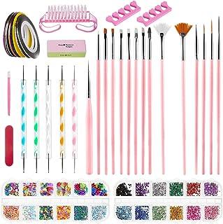 comprar comparacion Kit de Decoración de Uñas, ZWOOS Kit de Diseño de Arte de Uña, Pincel Uñas Suministros de uñas, Accesorios para Uñas Decor...
