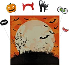 Halloween Backdrops Kit with Full Moon and Orange Sky with Bats Background and DIY Props Kit for Photo Booth of Black Cat, Pumpkin Jack O Lantern, Devil Horns, Smiling Mouth with Fangs, Green Eyeballs