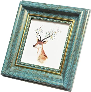 4x4 Photo Frame Blue Picture Frame Desktop Display Mount on The Wall.Plexiglass Panel (not Glass).Tips: Please Peel Off The P