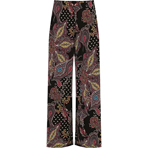 0ccab0dc50 WearAll Plus Womens Wide Leg Palazzo Trouser Pants Ladies Flared Paisley  Print Stretch 12-26