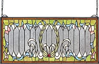 Yogoart Extra Large Tiffany Stained Glass Transom Window Panel 22 Inch