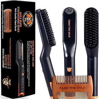 Tame's Easy Glide Beard Straightener - Fast Anti-Scald Beard Straightening Comb - Ceramic Heated Beard Brush - 3 Temperatu...