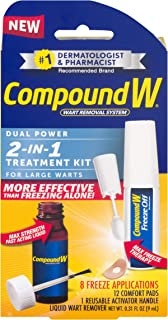 Compound W 2-in-1 Wart Removal Kit | Liquid Wart Remover | 8 Freeze Applications