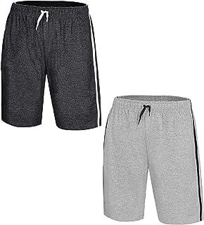 2 Pack Mens Loungewear Shorts PJ Nightwear Pyjama Bottoms Cotton Sleepwear Jersey Pants Drawcord Fastening and Side Stripe...