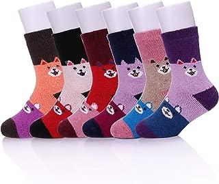 LongGe Children's Wool Socks Kids Toddler Girls Boys Cute Animal Thick Warm Winter Crew Socks 6 Pairs