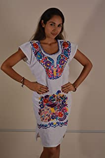 8321f5aa37b7 Mexican Floral Embroidered Casual Peseant Dress for Women