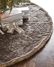 Balsam Hill Lodge Faux Fur Tree Skirt, 72 inches, Stone