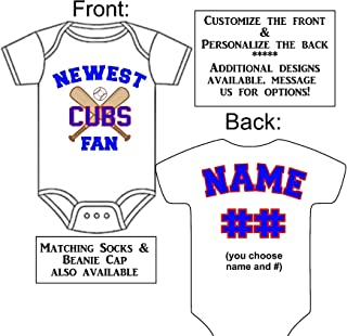 Personalized Custom Made Newest Cubs Fan Gerber Onesie Baseball Jersey - Baby Announcement Reveal or Shower Gift