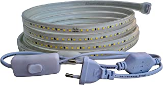 Ahorraluz Tira 220v 2835 120 Led/m Alta LUMINOSIDAD con Interruptor. Impermeable Frío/Neutro Waterproof IP67 Strip (Blanc...