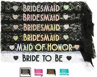 Bride & Bridesmaid 6pc Lace Sash Set - Gorgeous Party Favors for Bachelorette Party, Bridal Shower & Wedding Party (Black & Silver)