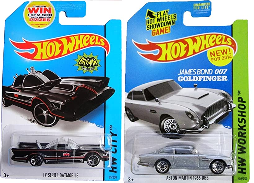 TV Series Batmobile & James Bond '62 Aston Martin Hot Wheels 60's Iconic Car Set 2014 #65 #200 in PROTECTIVE CASES