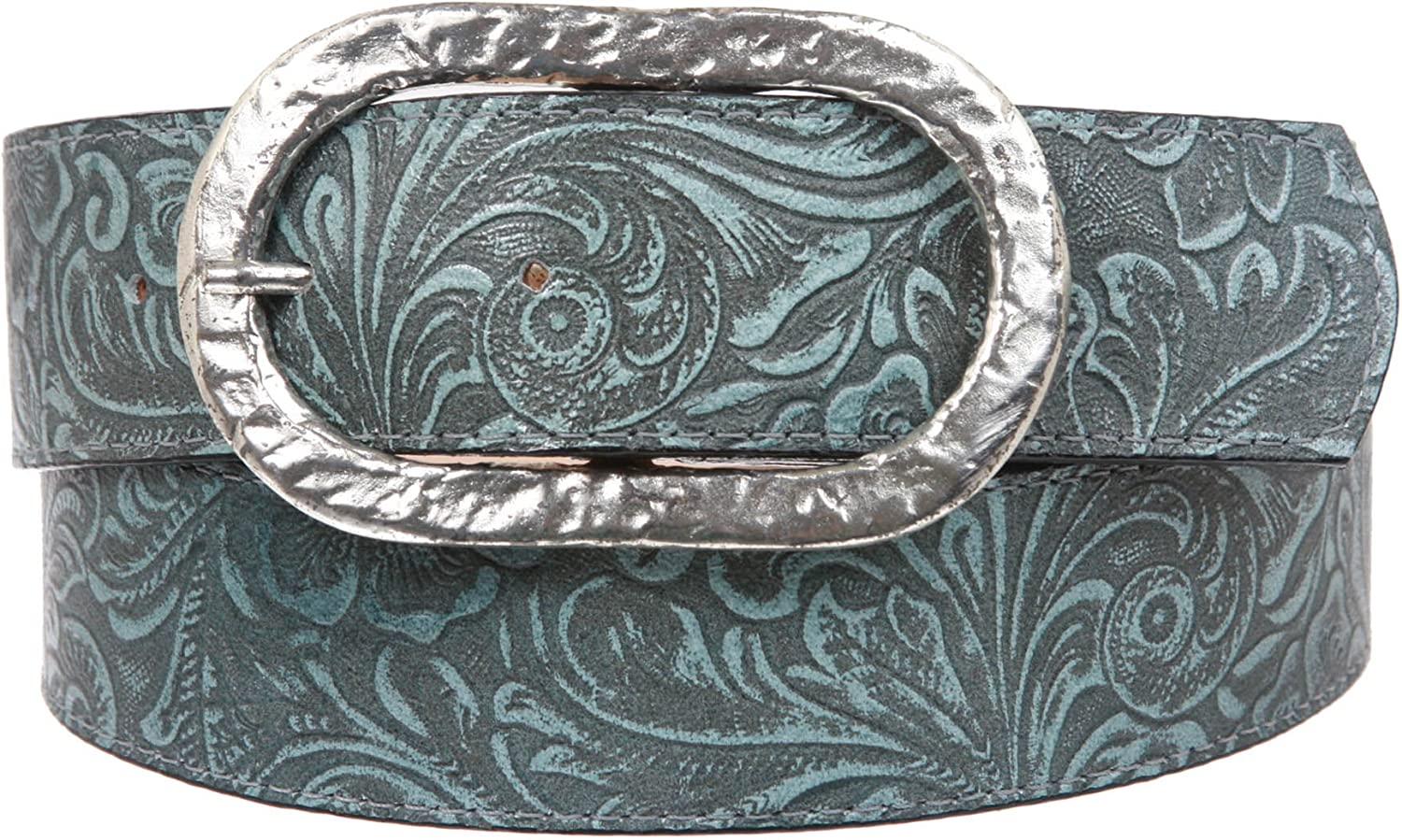 1 1 2 Inch Floral Engraving Leather Belt with oval buckle, bluee   36