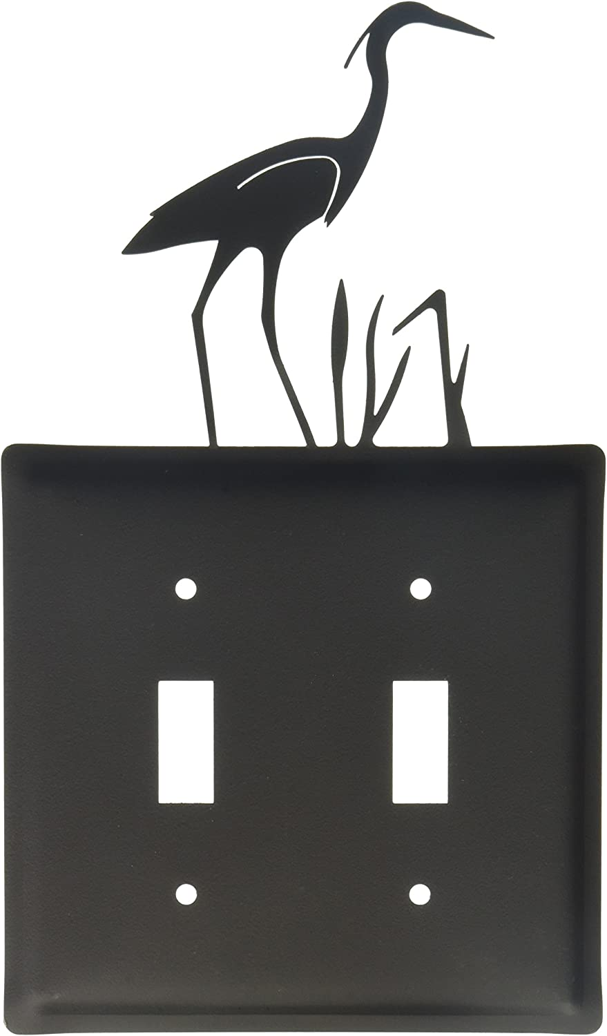 diseño único Village Wrought Wrought Wrought Iron ESS-133 Heron Switch Cover Double - negro by  distribución global