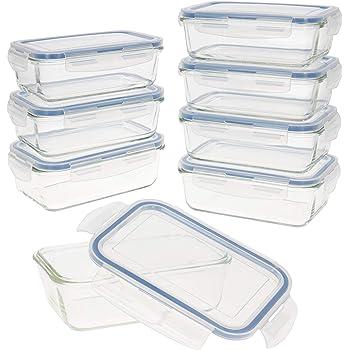 AKTIVE 43 Set 8 contenedores Alimentos herméticos, Vidrio, 19 x 13.5 x 6.5 cm, 800 ml