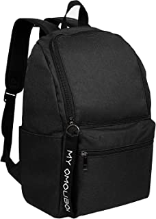 Backpack for Men and Women Unisex, OMOUBOI 14 Inch Waterproof Laptop Boys/Girls School Book Bag for Travel, Outdoor Camping, Traveling, Work, Business, College, Lightweight Slim Durable - Black
