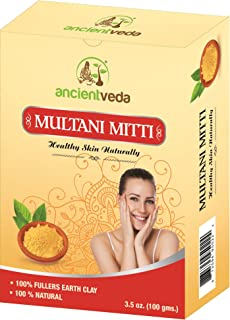 Multani Mitti 200gms, 100% Fullers Earth Clay, 100% Natural, No Chemicals, No Preservatives - 7 Oz(Pack of 2 X 100 Gms) - Ancient Veda