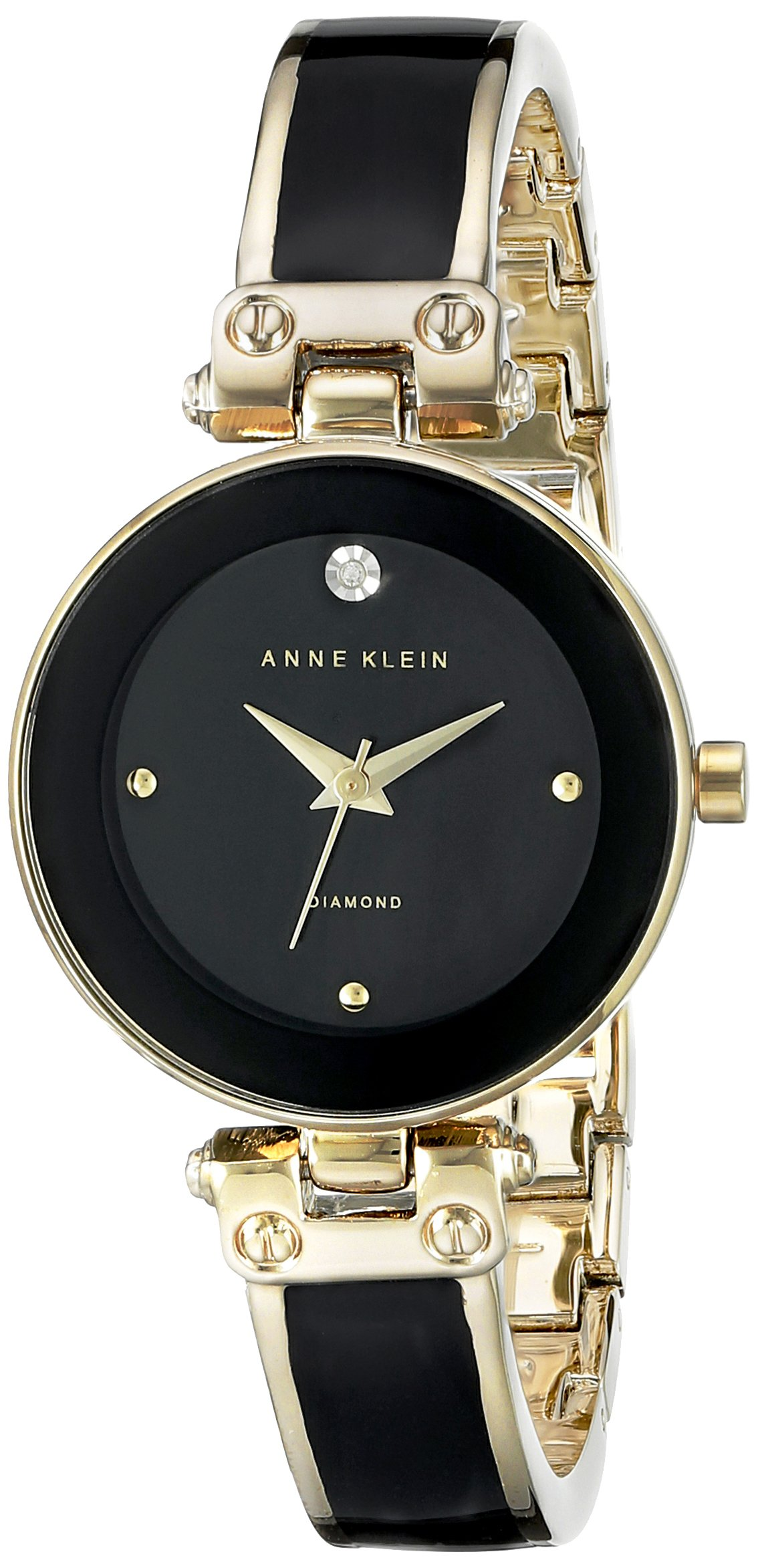 Anne Klein AK 1980BKGB Diamond Accented