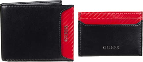 Guess Men's RFID Set with Slim Bifold Wallet and Card Case Holder, Black/Red, One Size