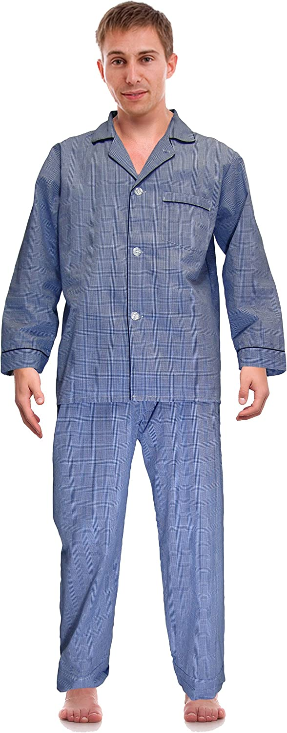 RK Classical online shopping Sleepwear Men's Broadcloth Max 48% OFF Woven Pajama Set