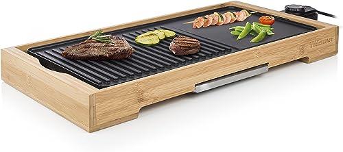 Plancha de table Tristar Bamboo Grill XL BP-2641 noire - 6 personnes - Plaque de cuisson en fonte d'aluminium 51 x 25...