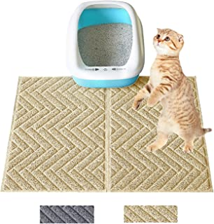 Premium Cat Litter Mat (24'' x 18'' x 2 Pieces) Durable Litter Mat Kitty Litter Trapping Mat No Phthalate Soft on Sensitive Kitty Paws Non-Slip Backing Easy Clean