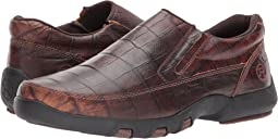 Brown Caiman Print Leather Upper