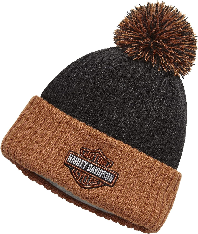 Harley-Davidson Contrast Cuff & Pom Knit Hat, Orange & Black