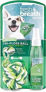 TropiClean Fresh Respiración tri-floss cuerda pelota con líquido Floss
