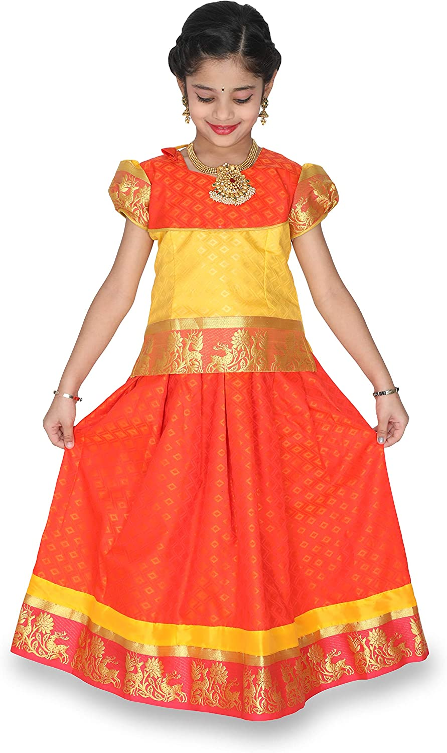 Kaatru Girls Pavadai Set D5  Lehenga Choli  Buffon Sleeve (Rexona & orange)