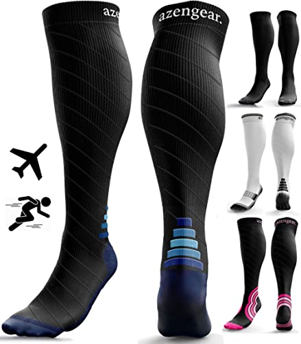 Compression Socks for Men & Women (20-30 mmHg) - Anti DVT Stockings - Swollen Legs - Varicose Veins - Edema - Running - Sports - Nurses - Shin Splints Calf Pressure Support - Pregnancy - Blood Circulation - Flight Travel - L/XL product image