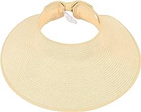 Simplicity Women's Summer Foldable Straw Sun Visor w/Cute Bowtie
