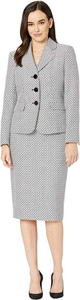 Three-Button Shawl Collar Jacket Skirt Suit