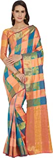 Viva N Diva Sarees for Women`s Banarasi Kanchivaram Silk Woven Saree with Un-Stiched Blouse Piece,Free Size