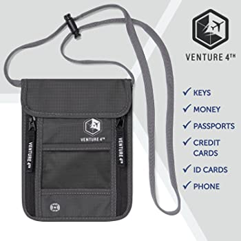 Travel Neck Pouch Neck Wallet with RFID Blocking – Passport Holder to Keep Your Cash And Documents Safe – Get Peace O...