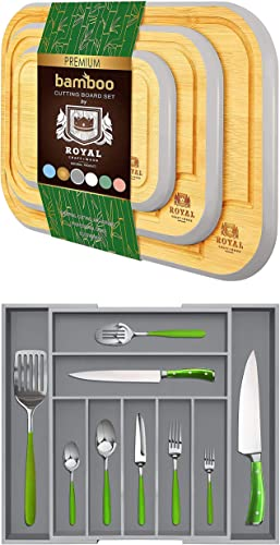 discount Rounded Cutting Board Set of 3 wholesale (Gray) and Silverware new arrival Drawer Organizer (Gray) online