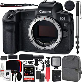 Canon EOS R Full-Frame Mirrorless Digital Camera (3075C002) (Body Only) with Deco Gear Photo Video Pro Backpack, Cleaning Kit Carry Case, Shotgun Microphone, 72
