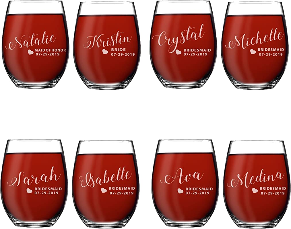Set Of 1 2 3 4 5 6 7 8 Custom Engraved Bridesmaid Gifts Personalized Stemless Wine Glasses Passion Style 8